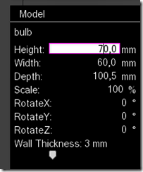 Edit size in Model Pane